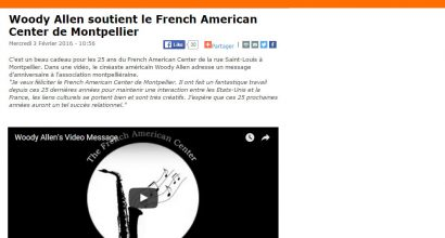 Presse - Woody Allen soutient le French American Center de Montpellier