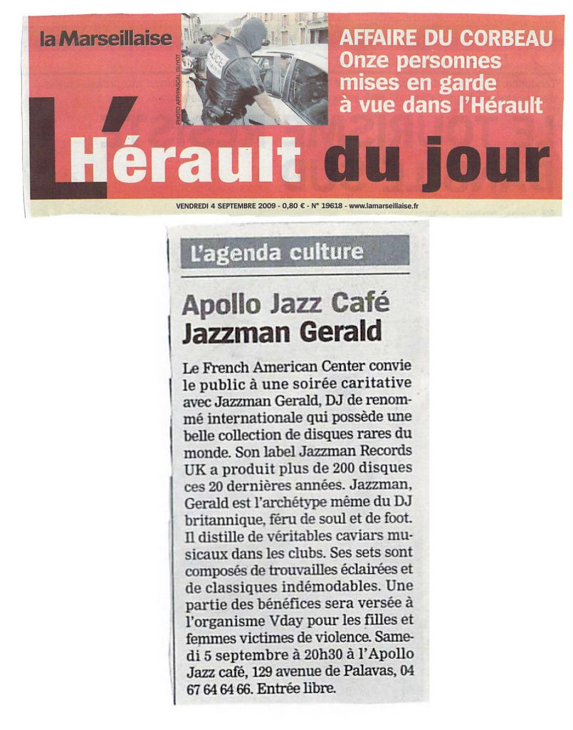 V-Day, Jazzman Gerald et le French American Center